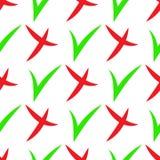 Nahtloses Muster von den Häkchenikonen einfach auf weißem Hintergrund Kreuz- und Grünhäckchen Auch im corel abgehobenen Betrag Stockbild