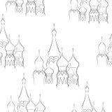 Nahtloses Muster von den Kathedralen auf einem weißen Hintergrund Stockbilder