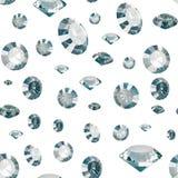 Nahtloses Muster von den Luxusdiamanten lokalisiert auf weißen Hintergründen Glänzende Kristalle 3d übertragen Stockfotos