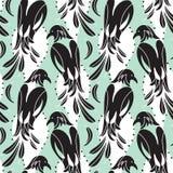 Nahtloses Muster von den Vögeln, die Elster ähnlich sind, stilisierte Schattenbilder stock abbildung