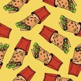 Nahtloses Muster von doner Kebab Rollen Sie, Hühnerrolle, Schnellimbiß, Kebab, shawarma Stockbild