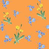 Nahtloses Muster von drei Büschen färben Löwenzahn und wilde kleine blaue Blumen auf einem orange Hintergrund gelb watercolor Stockfoto