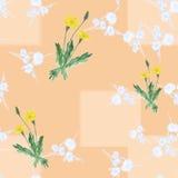 Nahtloses Muster von drei Büschen färben Löwenzahn und wilde kleine weiße Blumen auf einem beige Hintergrund mit geometrischen Fo Lizenzfreies Stockbild