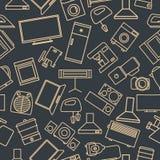 Nahtloses Muster von einem Satz Haushaltsgerätikonen, Vektorillustration Lizenzfreie Abbildung
