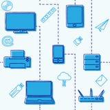 Nahtloses Muster von elektronischen Geräten für die Medien und das Internet im Blau Auch im corel abgehobenen Betrag Stockfoto