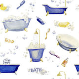 Nahtloses Muster von Elementen eines Innenbadezimmers Dekoratives Bild einer Flugwesenschwalbe ein Blatt Papier in seinem Schnabe Stockbild