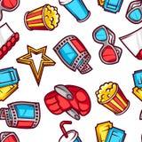 Nahtloses Muster von Elementen und von Kino des Films 3d wendet in der Karikaturart ein Stockfotos