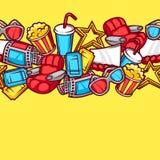 Nahtloses Muster von Elementen und von Kino des Films 3d wendet in der Karikaturart ein Lizenzfreie Stockfotografie