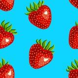Nahtloses Muster von Erdbeeren auf einem blauen Hintergrund stock abbildung