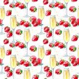 Nahtloses Muster von Erdbeeren und Champagner Lizenzfreies Stockbild
