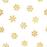 Nahtloses Muster von fallenden goldenen Schneeflocken Stockbilder