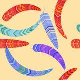 Nahtloses Muster von fantastischen Federn stockfotos