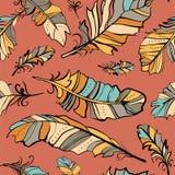 Nahtloses Muster von farbigen Federn lizenzfreie abbildung
