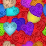 Nahtloses Muster von farbigen Herzen mit Spirale nach innen Lizenzfreies Stockfoto