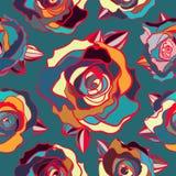 Nahtloses Muster von farbigen Rosen stock abbildung