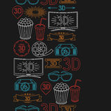 Nahtloses Muster von Filmelementen und -kino Stockfotografie
