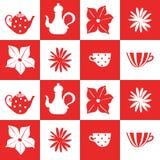 Nahtloses Muster von Fliesen mit Teekannen, Schalen und Blumen Stockfotos