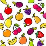 Nahtloses Muster von Früchten mit schwarzem Entwurf Stockbilder
