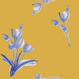 Nahtloses Muster von Frühlingstulpen mit blauen Blumen auf einem dunkelgelben Hintergrund watercolor Stockbild