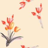 Nahtloses Muster von Frühlingstulpen mit roten Blumen auf einem hellen beige Hintergrund watercolor Lizenzfreies Stockbild