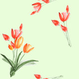 Nahtloses Muster von Frühlingstulpen mit roten Blumen auf einem hellgrünen Hintergrund watercolor Lizenzfreie Stockbilder