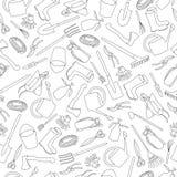 Nahtloses Muster von Gartenwerkzeugen Stockbilder