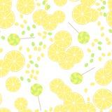 Nahtloses Muster von gelben Zitronenscheiben und von Süßigkeitslutschern Stockfotos
