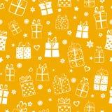 Nahtloses Muster von Geschenkboxen Stockbild