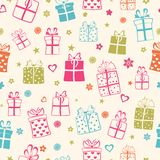 Nahtloses Muster von Geschenkboxen Lizenzfreie Stockfotos