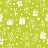 Nahtloses Muster von Geschenkboxen Stockfotos