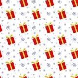 Nahtloses Muster von Geschenkboxen und von Schneeflocken Stockfoto