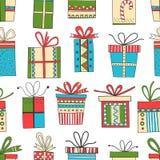 Nahtloses Muster von Geschenkpaketen, Weihnachtsgeschenke Stockfotos