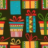 Nahtloses Muster von Geschenkpaketen, Weihnachtsgeschenke Stockbild