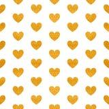 Nahtloses Muster von goldenen Herzen Stockbild