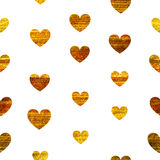 Nahtloses Muster von goldenen Herzen Lizenzfreies Stockfoto