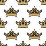 Nahtloses Muster von goldenen königlichen Kronen Lizenzfreie Stockfotografie