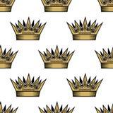 Nahtloses Muster von goldenen königlichen Kronen Lizenzfreie Stockbilder