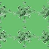 Nahtloses Muster von Grünblättern und -blumen auf einem grünen Hintergrund geometrisch watercolor Stockfotos