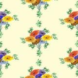 Nahtloses Muster von Grünblättern und von hellen Blumen auf einem gelben Hintergrund geometrisch watercolor Lizenzfreies Stockbild