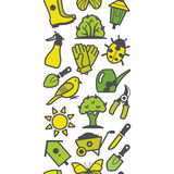 Nahtloses Muster von grünen Gartenwerkzeugen Lizenzfreie Stockfotos