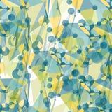 Nahtloses Muster von grünen Polygonmustern und -kreisen Stockbilder