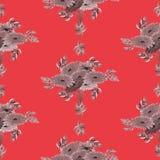 Nahtloses Muster von grauen Blumen und von Blättern auf einem roten Hintergrund geometrisch watercolor Lizenzfreie Stockfotos