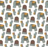 Nahtloses Muster von Hüten, von Handschuhen und von Schal Stockfotografie