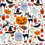 Nahtloses Muster von Halloween-Ikonen Stockbild