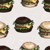 Nahtloses Muster von Hamburgern Stockfotos