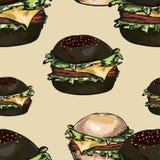 Nahtloses Muster von Hamburgern Stockfoto