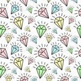 Nahtloses Muster von Hand gezeichneten glänzenden Diamanten VektorHintergrund für Feiertag, Babyparty stock abbildung