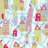 Nahtloses Muster von Hand gezeichneten Häusern in der Winterstadt Stockfotos