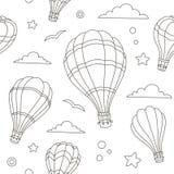 Nahtloses Muster von Heißluft steigt auf dem Himmel im Ballon auf Stockfotografie