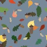 Nahtloses Muster von Herbsteicheln, -samen und -blättern Stockfotografie